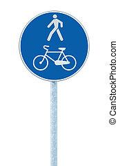 azul, carril, bicicleta, señal, grande, peatón, poste, poste, camino
