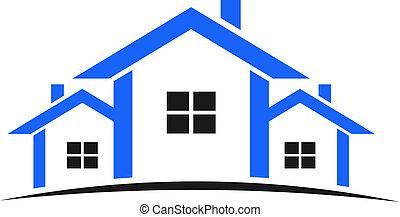 azul, casas, logotipo