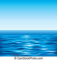azul, cielo claro, mar