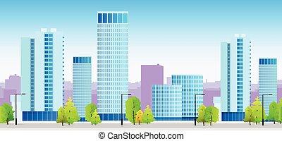 azul, ciudad, contornos, edificio, ilustración, arquitectura, cityscape