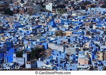 azul, ciudad, jodhpur, casa, india, estado, rajasthan, hermoso