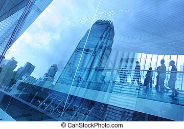 azul, ciudad, plano de fondo, vidrio