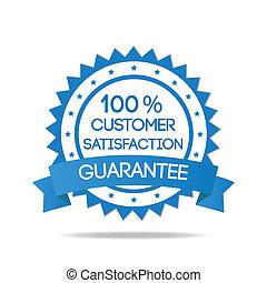 azul, cliente, insignia, satisfacción