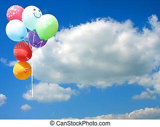 azul, coloreado, texto, cielo, contra, lugar, fiesta, globos, su, vacío