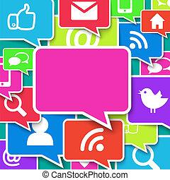 azul, comunicación, encima, plano de fondo, iconos
