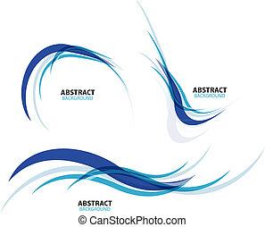 azul, conjunto, líneas, fluir, onda