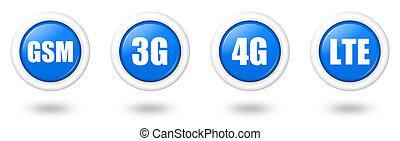 azul, conjunto, telecomunicación, 3g, lte, sombra, gsm, 4g, icono