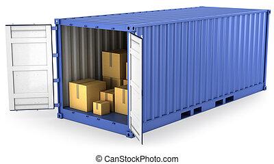 azul, contenedor, abierto, dentro, cajas, cartón