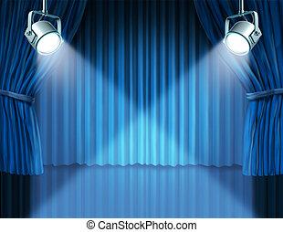 azul, cortinas, terciopelo, proyectores, cine