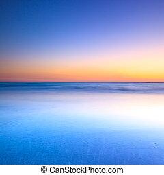 azul, crepúsculo, océano, ocaso, playa blanca