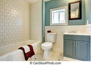 azul, cuarto de baño, clásico, remodeled, nuevo, blanco, tile.