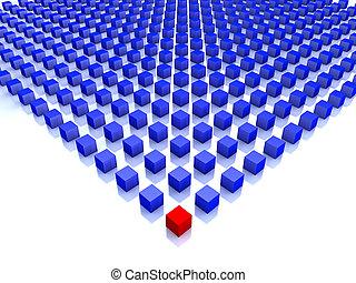 azul, cubos, uno, campo, esquina, rojo