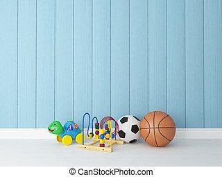 azul, de madera, plano de fondo, juguetes
