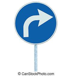 azul, derecho, adelante, señal, marco, aislado, roadsign, gris, vuelta, poste, tráfico, flecha, zona lateral de camino, signage, poste, blanco, redondo, icono