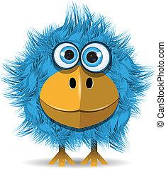 azul, divertido, pájaro