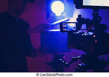 azul, documental, etapa, película, iluminación