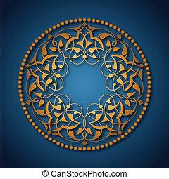 azul, dorado, encima, otomano, patrones