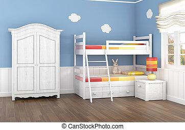 azul, dormitorio niños