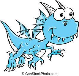 azul, dragón, tonto, mentecato, vector