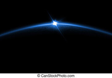 azul, eclipse, -, lunar, salida del sol