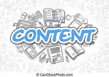 azul, empresa / negocio, garabato, concept., word., -, contenido
