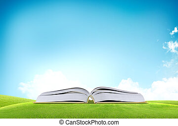 azul, encima, campo de cielo, libro, hierba verde, abierto, él