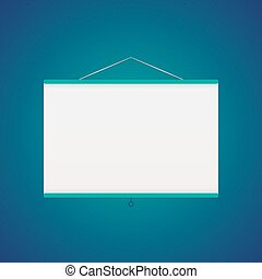 azul, encima, vector, pantalla, proyector