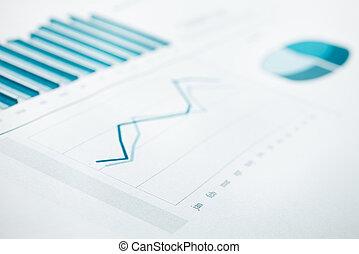 azul entonado, empresa / negocio, gráfico, enfoque., selectivo, informe, datos, print.
