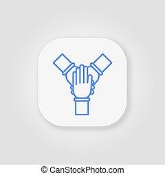 azul, equipo, línea, gris, cohesión, plano de fondo, icono, work.