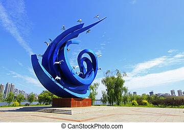 azul, escultura, cuadrado