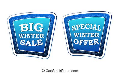 azul, estacional, concepto, invierno, empresa / negocio, oferta, grande, -, venta, retro, copos de nieve, texto, banderas, señales, especial, estilo