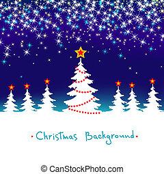 azul, estacional, invierno, resumen, árbol, plano de fondo, vector, bosque, estrellas, navidad blanca