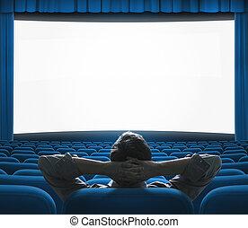 azul, exclusivo, arte, cine, grande, concept., screen., vip, casa, película, auditorium., preestreno