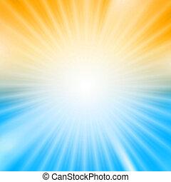 azul, explosión, luz, encima, fondo amarillo