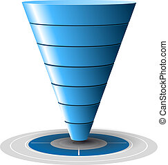 azul, fácilmente, conversión, ventas, blanco, niveles, customizable, 1, tones., vector, más, 7, graphics., embudo, o