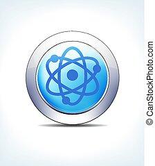 azul, farmacéutico, y, nuclear, botón, radioactivo, atención sanitaria, icono, pálido, símbolo