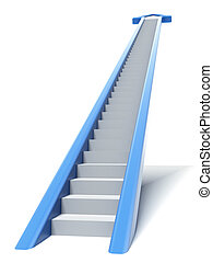 azul, flecha, escalera