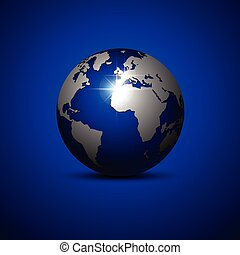 azul, fondo., globo, vector, illustration.