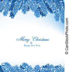 azul, frame., navidad, abeto