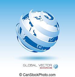 azul, global, vector, plano de fondo