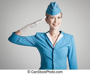 azul, gris, vestido, uniforme, azafata, plano de fondo, simpático