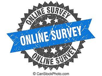 azul, grunge, en línea, encuesta, estampilla, band.