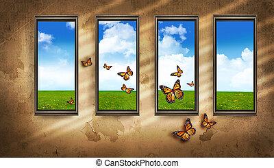 azul, habitación, windows, cielo, oscuridad, mariposas, grungy