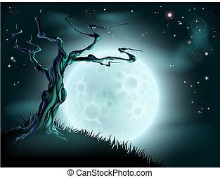 azul, halloween, árbol, plano de fondo, luna