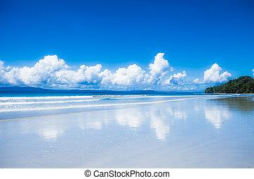 azul, havelock, nubes, cielo, india, andaman, island., islas