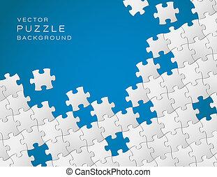 azul, hecho, artículos del rompecabezas, vector, plano de fondo, blanco