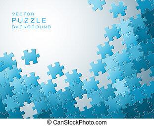 azul, hecho, artículos del rompecabezas, vector, plano de fondo