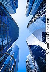 azul, highrise, ángulo, vidrio, calle, rascacielos, tiro, bajo