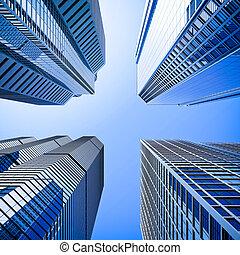 azul, highrise, ángulo, vidrio, rascacielos, tiro, intersección, bajo
