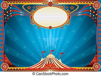 azul, horizontal, circo, plano de fondo